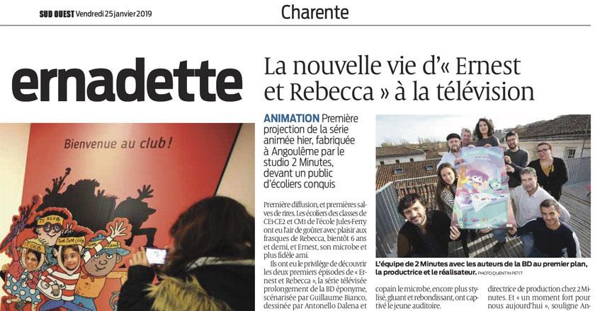 """""""La nouvelle vie de d'Ernest et Rebecca"""" dans Sud-Ouest"""